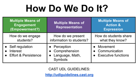 Picture: UDL Guidelines How do we do it? chart